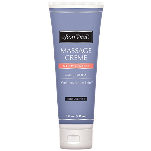 Bon Vital' Deep Tissue Massage Crème, Professional Massage Therapy Cream for Muscle Relaxation, Muscle Soreness, Injury Recovery, Deep Muscle Manipulation, & Sports Massages, 8 Ounce Tube