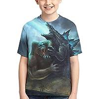 Dominic Art Godzilla vs Kong ゴジラVSコング 男の子 Tシャツ 女の子 半袖 キッズ Tシャツ カットソー XS