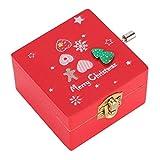 ZRNG Caja de música de madera caja de música de navidad de manubriro de madera de pino de manubrio de madera de manubrio de madera copo de nieve de los mejores deseos del regalo de la caja de la músic