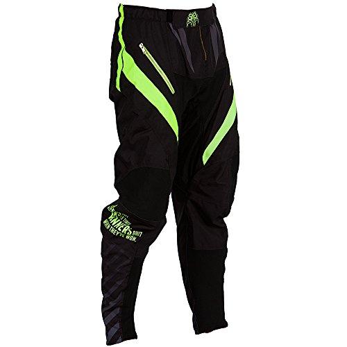 Broek voor mountainbike Downhill en Enduro: B2BA Clothing, winddichte MTB-broek met zakken voor mannen en vrouwen, lange offroad broek zwart neon geel, sneldrogend en waterafstotend, maat XL 36