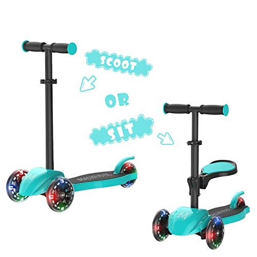 XJD 2 in 1 Toddler Scooter with Removable Seat Scooters for Kids Scooter 3 Wheel Kick Scooters for Girls Boys Adjustable Height Extra Wide PU Flashing Wheels Scooter for Children from 2 to 8 Years Old