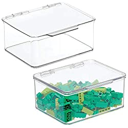 "mDesign Plastic Stackable Organizer Toy Box with Attached Lid for Storage of Action Figures, Crayons, Markers, Building Blocks, Puzzles, Craft or School Supplies - 3"" High, 2 Pack - Clear"