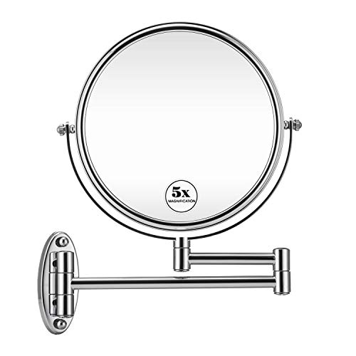 GloRiastar 5X Wall Mounted Makeup Mirror - Double Sided Magnifying Makeup Mirror -