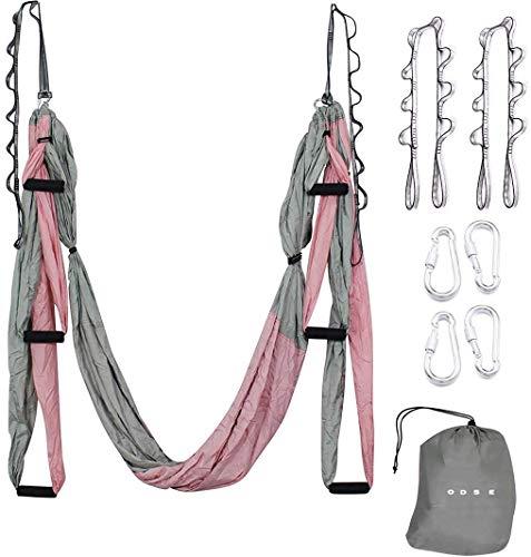ODSE Aerial Yoga Schaukel – Ultra starke Antigravity Yoga Hängematte / Sling / Inversionswerkzeug für Air Yoga Inversionsübungen – 2 Erweiterungsriemen enthalten (Pink & Grau)