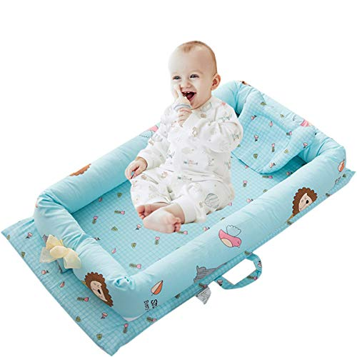 Abreeze Baby Bassinet for Bed -Zoo Design Baby Lounger - Breathable & Hypoallergenic Co-Sleeping Baby Bed - 100% Cotton Portable Crib for Bedroom/Travel