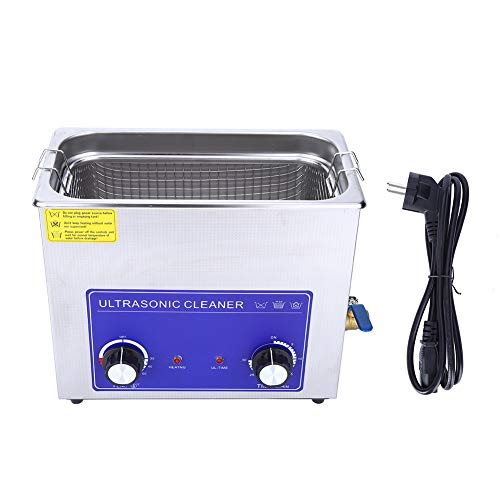 lyrlody, dispositivo a ultrasuoni con cesto, pulitore digitale a ultrasuoni, dispositivo di pulizia Ultrasonic Cleaner in acciaio inox per laboratori, dipartimenti dentali (6L)