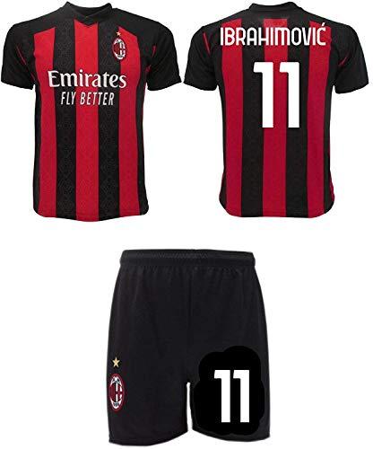 Completo Ibrahimovic Milan 2021 Zlatan Ufficiale 2020-2021 Numero 9 Maglia + Pantaloncini (8 Anni)