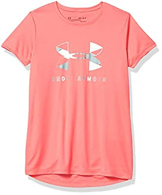 Under Armour Girls' Big Logo Tech Short Sleeve Training Workout T-Shirt , Eclectic Pink (690)/White , Youth Large