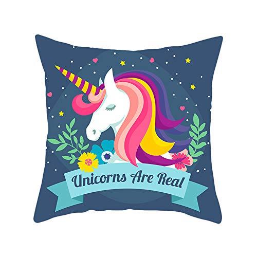 Inconpro Unicornio Estampadas Fundas de Almohada Piel de Melocoton Cojín Fundas Pillow Cases para Sofa Jardin Cama Decorativo(45cm*45cm)