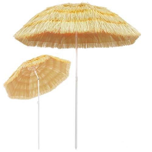 Tidyard Sombrilla de Playa con Diseño Inclinable,Garden Parasol para Terraza Jardín Playa Piscina Patio,Estilo Hawai,Poste y Varillas de Acero,PP,Natural 180cm