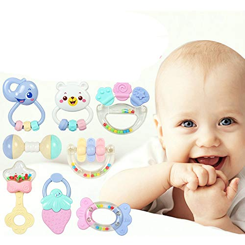 Find Discount FQMAO Spin Rattle, Teether Toy, Baby Rattles, Shaking Bell Rattle Set for 3+ Months In...