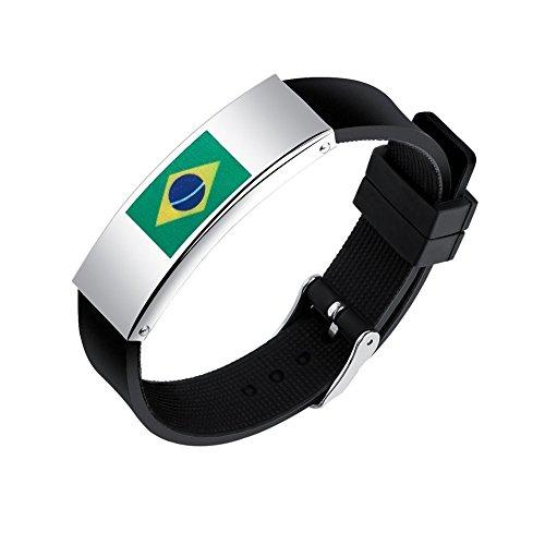 Braccialetto con Bandiera Brasile per 2018 Coppa del Mondo di Calcio in Acciaio Inox Regolabile in Acciaio Inossidabile