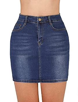 Haola Women s Casual High Waist Stretch Denim Jean Mini Skirt Dark Blue XL
