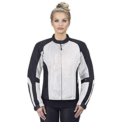 Viking Cycle Motorcycle Jackets for Women Viking Cycle Warlock Women's Mesh Motorcycle Jacket (Silver, Large)