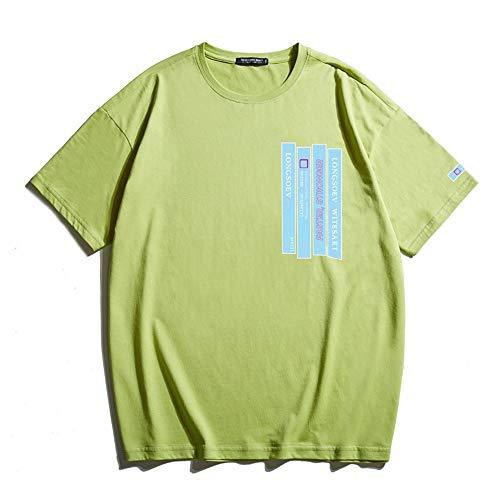 Yuncheng Camiseta Interior De Hombre Verano de algodón de impresión Que ejecuten Camiseta de los Hombres de más el tamaño de los Deportes Ocasionales de Cuello Redondo de Manga Mitad de Manga Corta