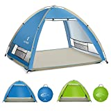 SGODDE Large Pop Up Beach Tent New Large Anti UV Sun Shelter Tents Portable Automatic Baby Beach Tent Instant Easy Outdoor Cabana for 4-5 Persons for Family Adults Dark Blue