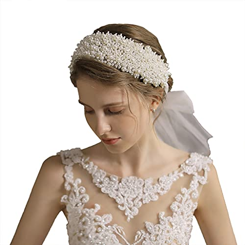 PHILSP Tiara de perlas para mujer, coronas de boda, diadema de tul...