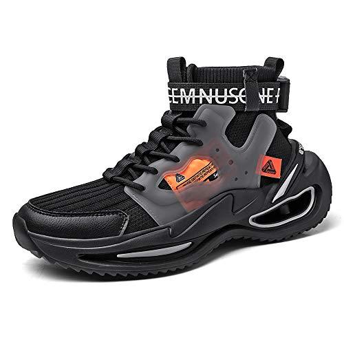 Sapatos de cano alto de primavera, tecido respirável, sola de borracha, sapatos modernos, sapatos casuais de malha, moderno, antiderrapante, tipo de lâmina, tênis de basquete para homens, Preto, 11