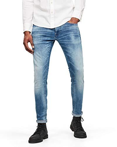 G-STAR RAW Mens Revend N Skinny Jeans, Sun Faded Azurite C296-B471, 38W / 32L