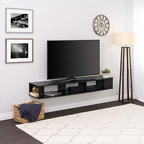 """Prepac 70"""" Wide Wall Mounted TV Stand, 70 inch, Black"""