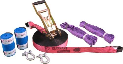 Elephant Slacklines Freak Flashline, Pink, 25m (24,8m Slacklineband + 0,2m Ratschenband) *Made in Germany* Breite 50mm, inkl. Rundschlingen, Schäkel und 50mm Langarmrratsche