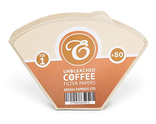 80 Size 1 Coffee Filter Paper Cones, Unbleached by EDESIA ESPRESS
