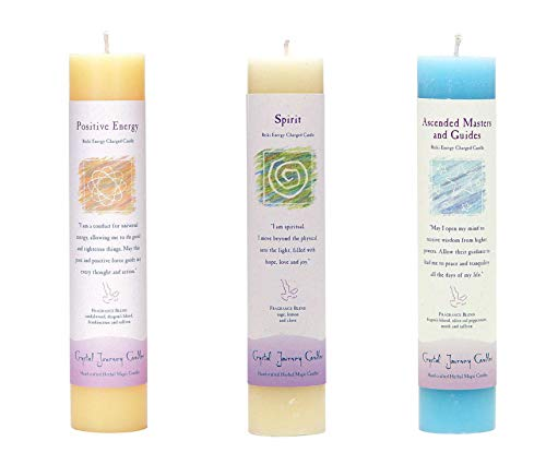 Crystal Journey Reiki Charged Herbal Magic Pillar Candle Bundle (Ascended Masters and Guides, Spirit, Positive Energy) Each 7' Tall 1.5' Wide