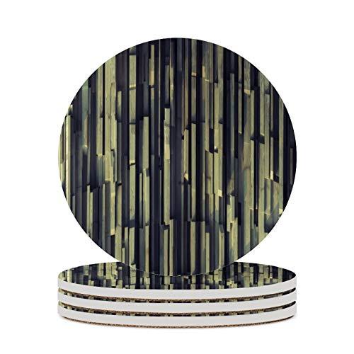 4 posavasos de madera de bambú con patrón de cerámica para bebidas, resistentes al calor, posavasos redondos y absorbentes, para amigos, hombres, mujeres, cumpleaños, inauguración de la casa