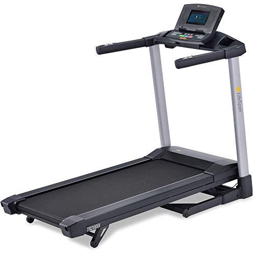LifeSpan Fitness TR2000iT Laufband | elektrisch & faltbar, 18 km/h | 21 Trainingsprogramme, LCD-Display, beladen bis 136 kg | Bluetooth USB, Lautsprecher | Transporträder