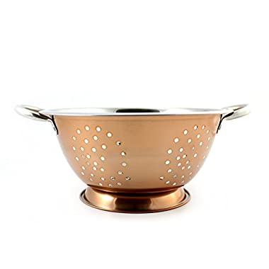 Copper & Stainless Steel Colander (2.5 Quart Capacity); Decorative Strainer / Fruit Bowl / Pedestal-Style Colander