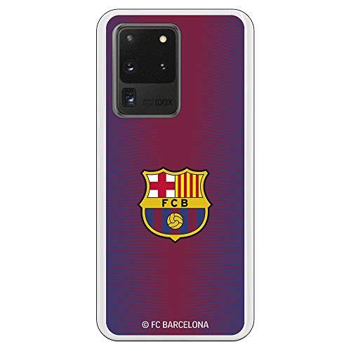 Funda para Samsung Galaxy S20 Ultra Oficial del FC Barcelona Barcelona Fondo Rojo Escudo Color para Proteger tu móvil. Carcasa para Samsung de Silicona Flexible con Licencia Oficial del FC Barcelona.