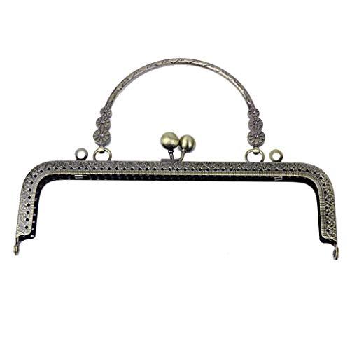 SHURROW Monedero Cuadrado de Metal con Flores, Marco de Bolsa, Cierre de Beso, Cierre con asa, Clip para Billetera de Regalo Artesanal de Bricolaje