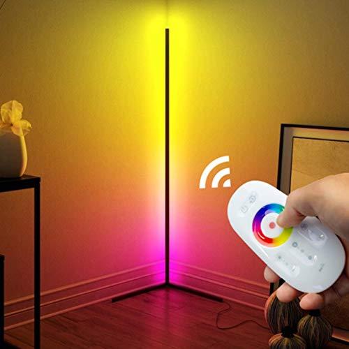 Izzya RGB Stehleuchte LED Eckleuchte Dreieck Umgebungslicht Bunte Dimmbare LED Smart Stehleuchte Atmosphäre Stehleuchte, Mit Touch-Fernbedienung,Schwarz