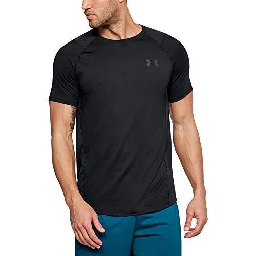 Under Armour Herren MK1 Short Sleeve EU SMU atmungsaktives Sportshirt, kurzärmliges und schnelltrocknendes Funktionsshirt mit enger Passform, Schwarz (Black/Stealth Grey), X-Large