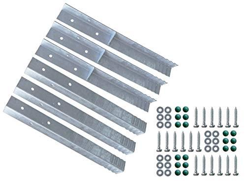 Gartenwelt Riegelsberger Winkelanker für Spielturm und Schaukel feuerverzinkt 500x45x45mm Erdanker Grundanker zum Einbetonieren 6 Stück (Set)