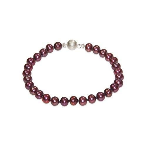 Blue Pearls–Pulsera de perlas de color rojo color rojo y 925plateado cierre BPS 0032L