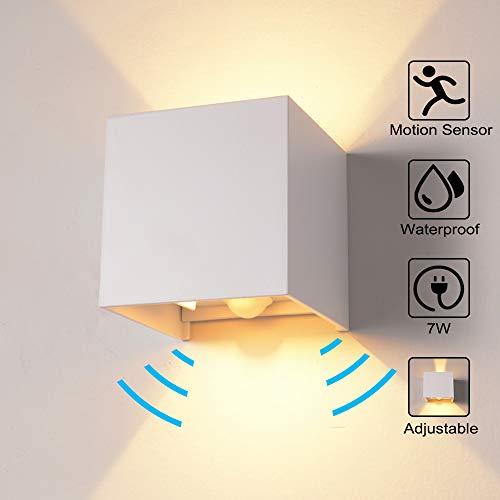 Wandleuchte Bewegungsmelder Aussen/Bewegungsmelder Innen LED Wandlampe, 7W Warmweiß Wasserdicht Verstellbare Aussenleuchte, Außenwandleuchte Sensor für Garten/Flur/Weg Veranda Hell(Weiß)