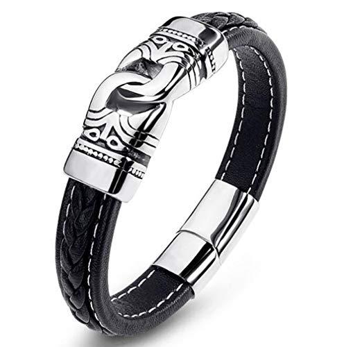 LH&BD Pulsera de runa celta vikinga con martillo nórdico, pulsera envuelta en cuero, joyería de acero inoxidable, plata