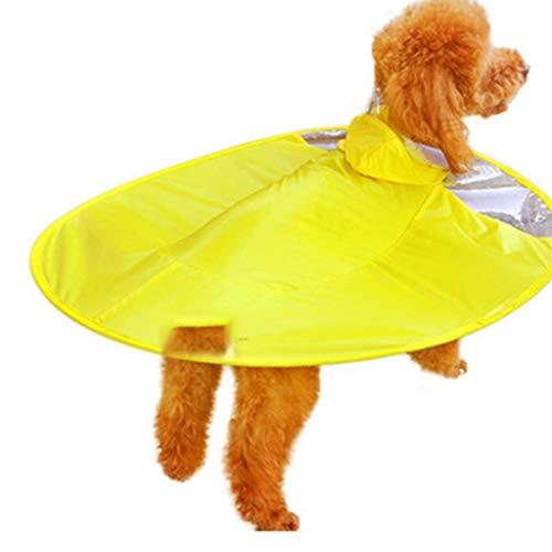 DingDing Hund Regenmantel Fliegende Untertasse Wasserdicht Mantel Kleinen Hund Welpen Regenschirm All-Inclusive Haustier Poncho
