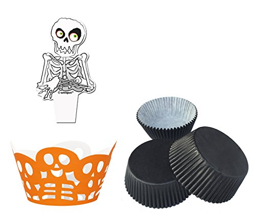 Unique Halloween Backset Skelett - 12 Totenkopf Banderolen - 60 Stück Muffinförmchen schwarz + 12 Stück Fähnchen Skelett - Halloweenparty - Cupcake - Muffins