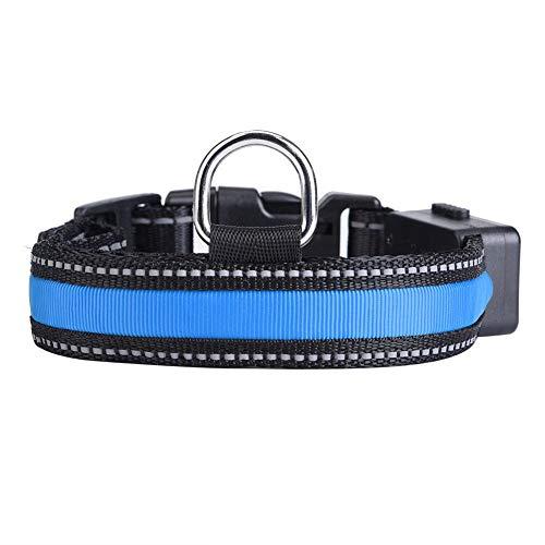 Pssopp Collar de Perro LED, USB Recargable Que Brilla intensamente Collar de Perro de Mascota Luz de Seguridad Collares de Nylon Collares para Perros pequeños, medianos y Grandes(Azul, L)