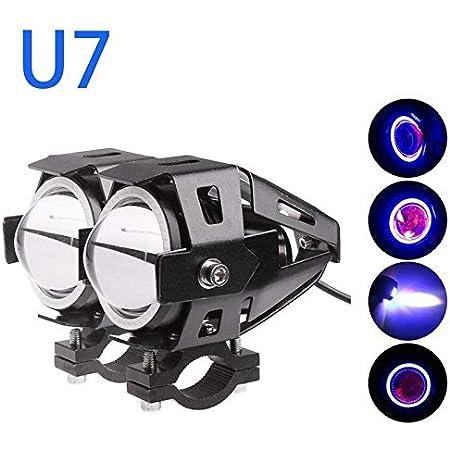 Guance U7 Led Fog Light Bike Driving Drl Fog Light Spotlight, High/Low Beam, Flashing-with Red Angel Eyes Light Ring (Pack of 1),Blue Hero Glamour Fi