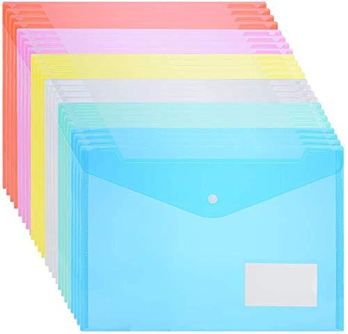 ZCZN 24 unidades Carpeta A4,Bolsas de Documentos de plástico A4 de 6 colores,Bolsa de Archivo para la escuela,el hogar,la oficina ✅
