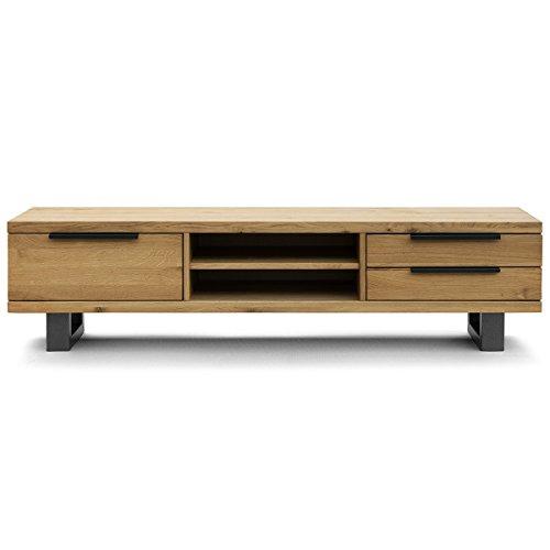 COMIFORT Mueble de TV - Mesa de Roble Macizo para Salon Moderno, Estilo Nordico, con 3 Cajones y 2 Estantes, Patas de Acero con Acabado Negro, Color Ahumado