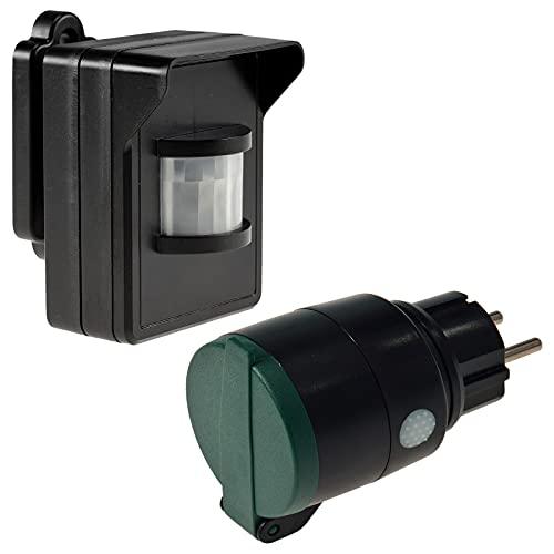 Bewegungsmelder Steckdose Set IP44 230V Funk-Bewegungsmelder 8m Funk-Steckdose bis 30m für Aussen Überwachnung von Haus Hof Garten Schwarz/Grün
