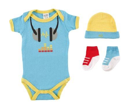 Luvable Friends 07148B Baby Bekleidungs Set 4-teilig blau Größe: 0-3 Monate