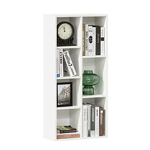 HOMCOM Estantería para Libros Librería de Madera con 7 Compartimentos de Almacenaje Plantas Archivos para Sala de Estar Dormitorio Oficina 50x24x106 cm Blanco