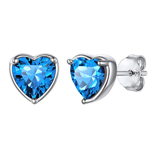 Pendientes Diciembre Corazón Forma Romántica Color Azul Turquesa Pendientes Antialérgicos Plata de Ley 925 para Orejas Joyerías Preciosas