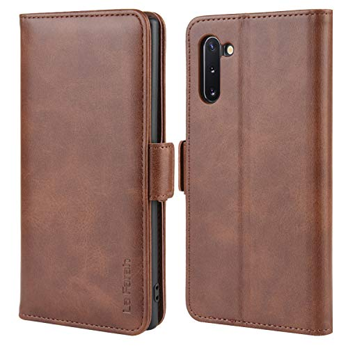 La Farah Handyhülle für Samsung Galaxy Note 10 Hülle,PU Leder Flip Schutzhülle für Samsung Galaxy Note 10 Tasche,Vintage Braun