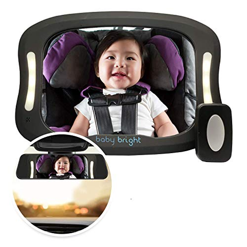 Baby Car Mirror with Light (for Driving at Night) & FOB Control | Improved Longer Lasting Battery Life | Backseat Rear View Baby Mirror by Baby Bright | Shatter-Proof, Fully Assembled